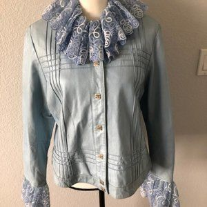 Authentic Chanel Blue Leather Jacket